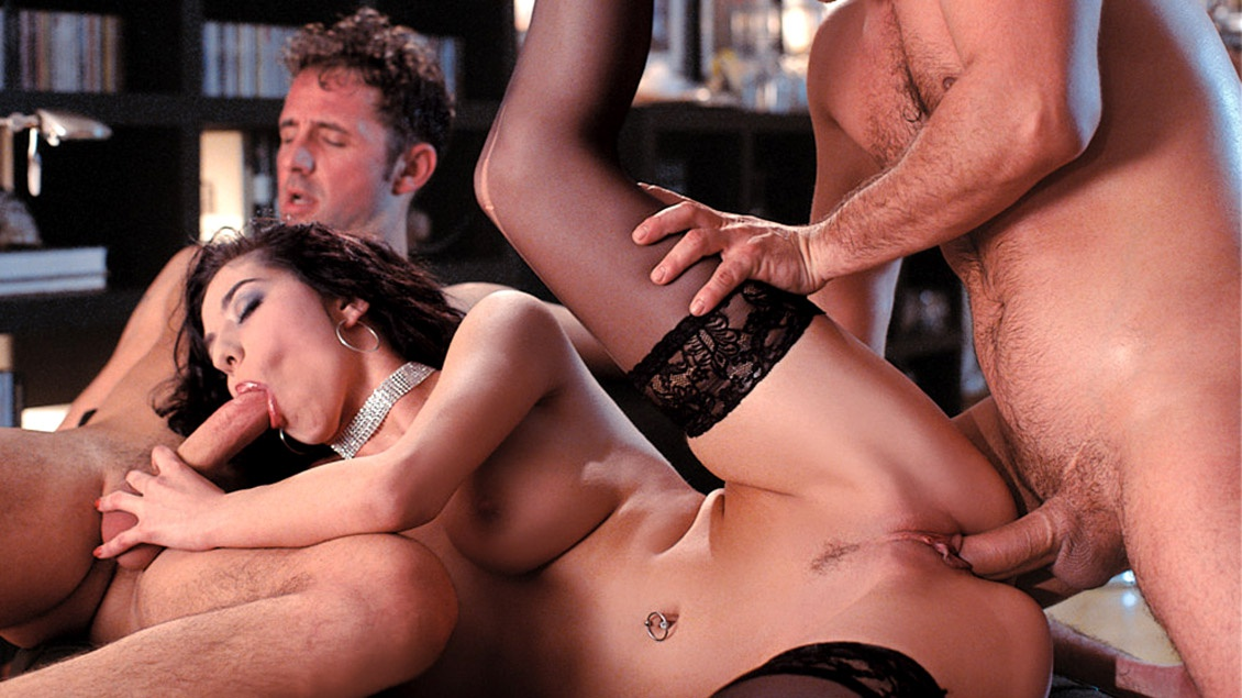 Sexy girl having sex with two men