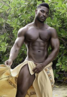 Almost naked wet guy