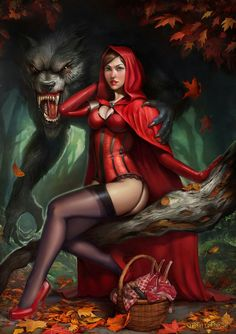 Sexy naked red riding hood