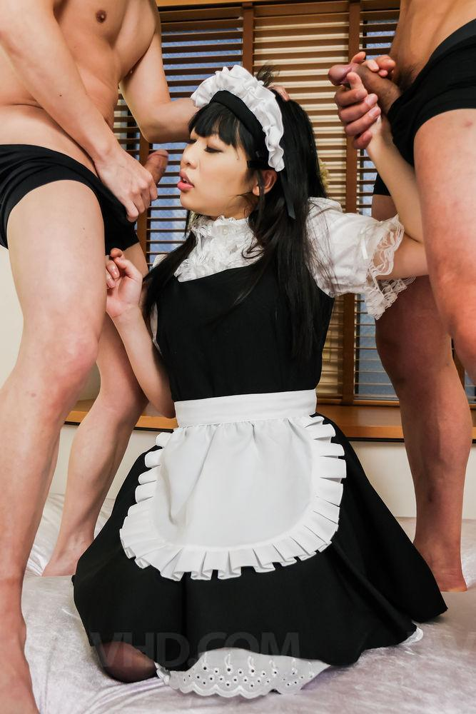 Sexy nude asian in maid uniform